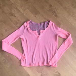 We The Free Long Sleeve Washout V Neck Pink Top